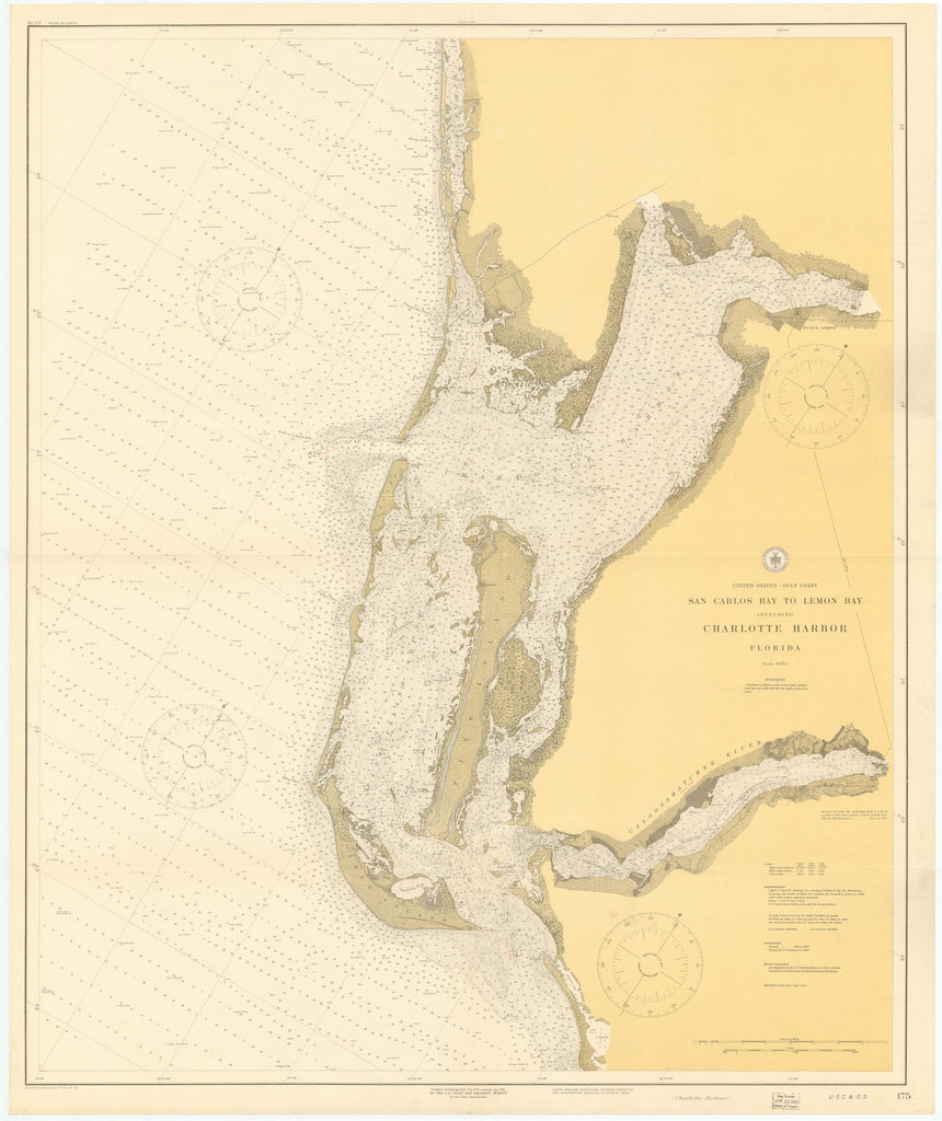 Charlotte Harbor (San Carlos Bay & Lemon Bay) Florida Historical Map - 1918