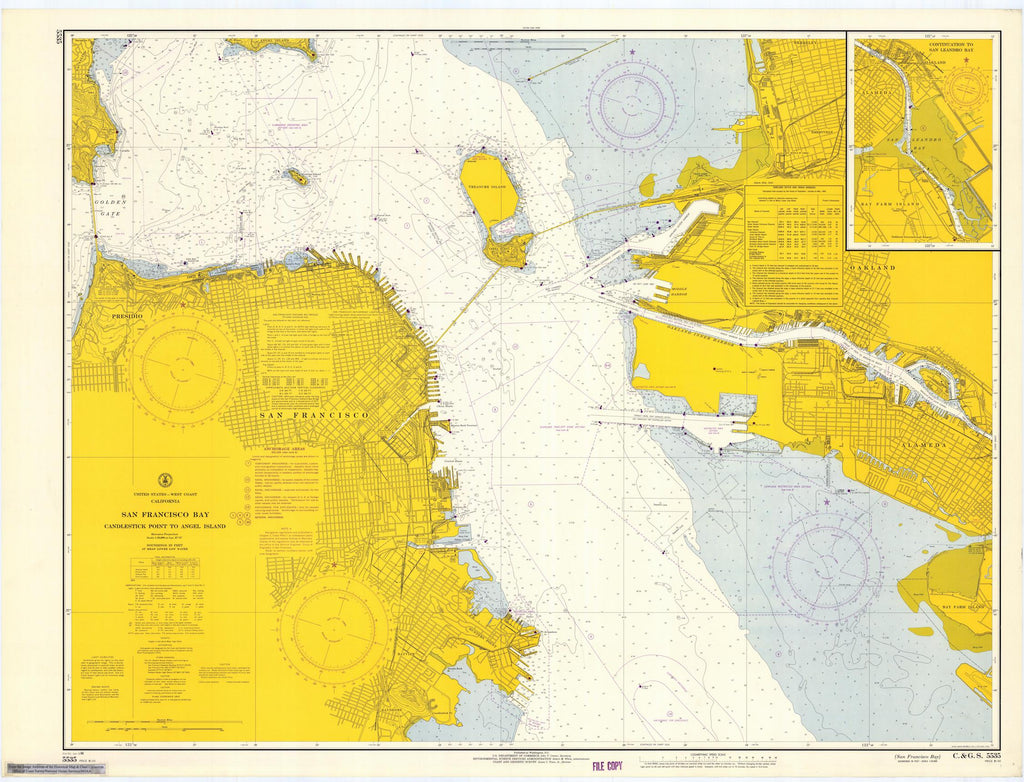 San Francisco - Candlestick Point to Angel Island Map - 1966