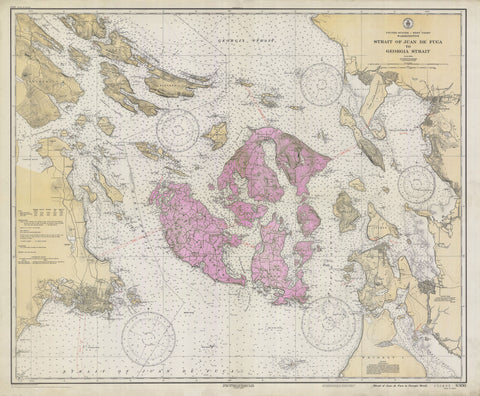 San Juan Islands Historical Map - 1933 (pink heart)
