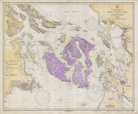San Juan Islands Historical Map - 1933 (purple)