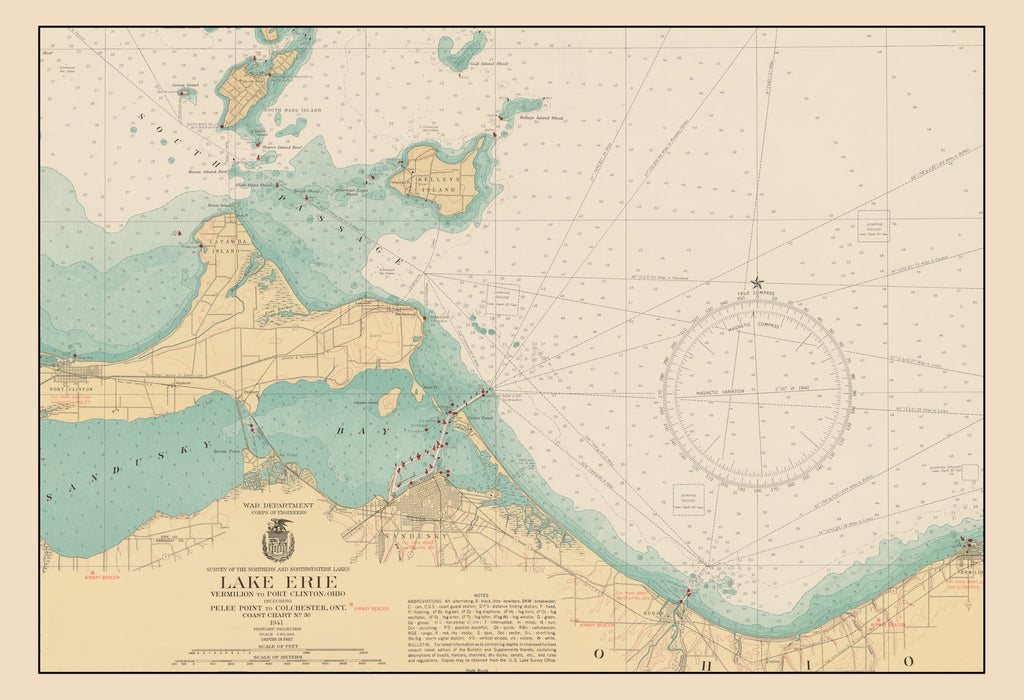 Sandusky Bay Map - Lake Erie - 1941 on printable map of metro denver, printable map of anchorage, printable map of milwaukee, printable map of albany, printable map of greensboro, printable map of galatia, printable map of wichita, printable map of columbus, printable map of ann arbor, printable map of lake wallenpaupack, printable map of baton rouge, printable map of des moines, printable map of fort carson, printable map of greenville, printable map of quad cities, printable map of santa barbara, printable map of delaware water gap, printable map of lake of the ozarks, printable map of akron, printable map of salt lake city,