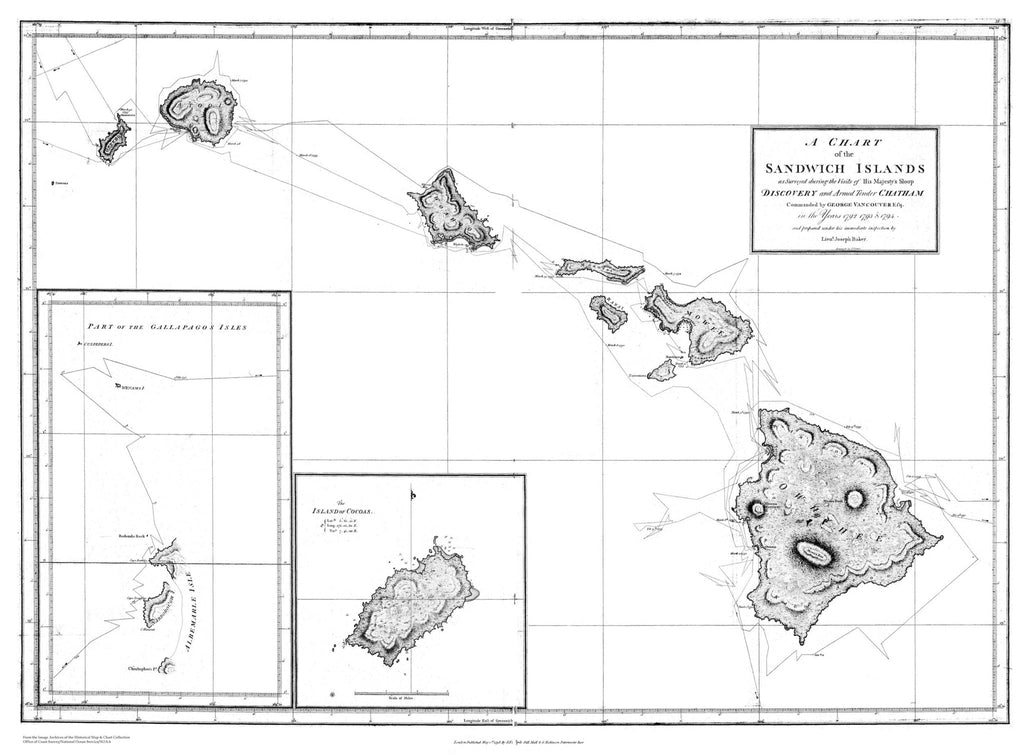 photograph about Printable Map of Hawaiian Islands titled Hawaiian Islands (Sandwich Islands) Ancient Map 1792