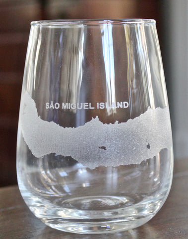 Sao Miguel Island Map - Engraved Rocks, Stemless Wine & Pint Glasses