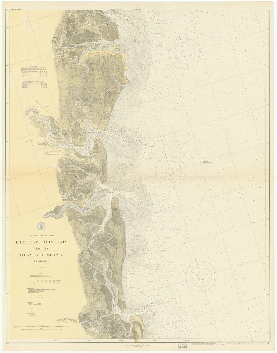 Sapelo Island to Amelia Island Historical Map 1922