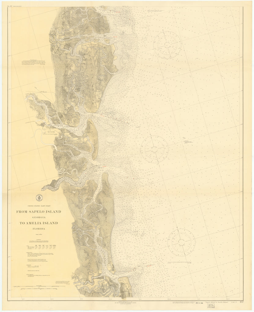 Sapelo Island to Amelia Island Historical Map 1919