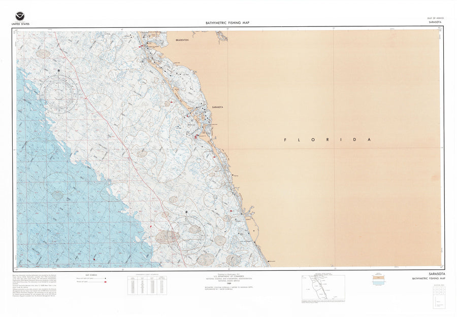 Sarasota Florida Bathymetric Fishing Map F86