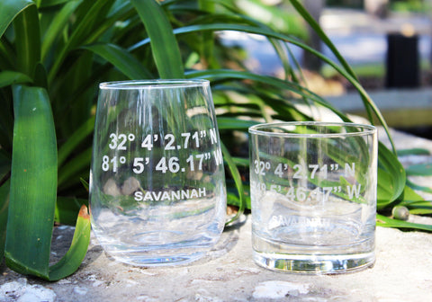Savannah GPS Coordinate - Engraved Rocks, Stemless Wine & Pint Glasses