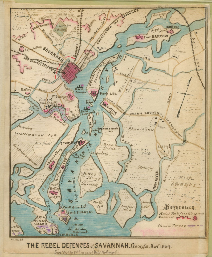 Savannah River Map - 1864