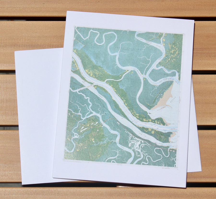 "Savannah River Map Notecards (1978) - 4.25""x5.5"""