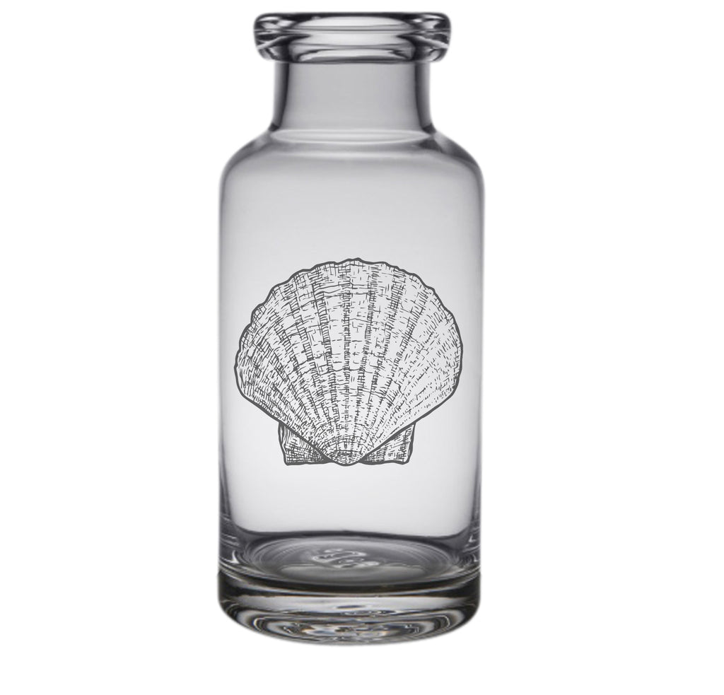 Scallop Shell Engraved Glass Carafe