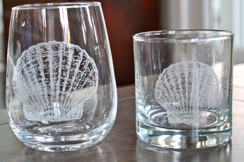 Scallop Shell Engraved Rocks, Stemless Wine & Pint Glasses