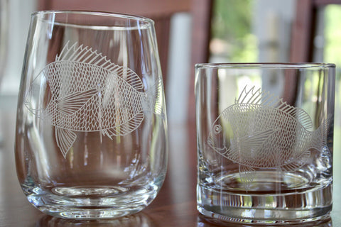 Scup (Porgy) Engraved Rocks, Stemless Wine & Pint Glasses