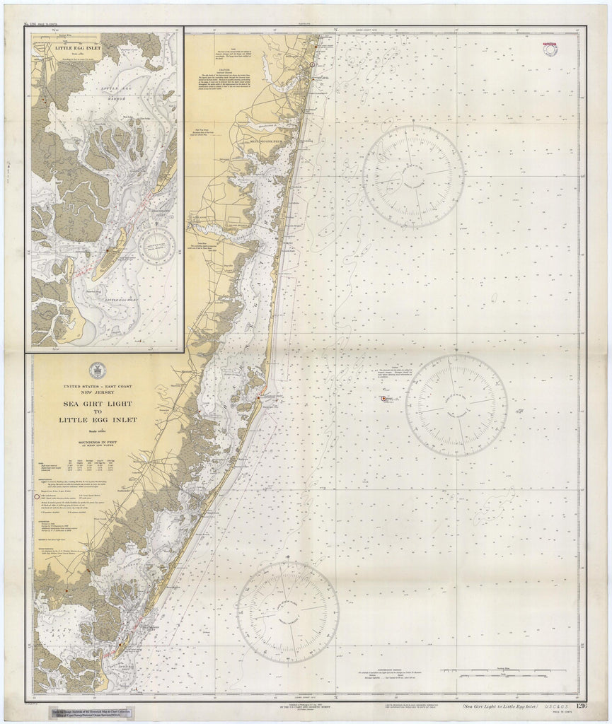 Sea Girt to Little Egg Inlet Map - 1934