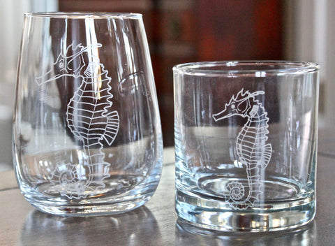Seahorse Engraved Rocks, Stemless Wine & Pint Glasses