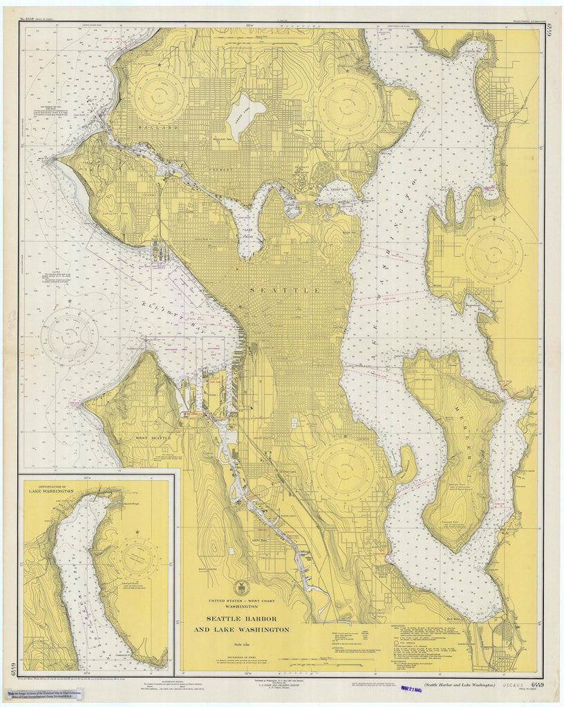 Seattle Harbor and Lake Washington Map 1948