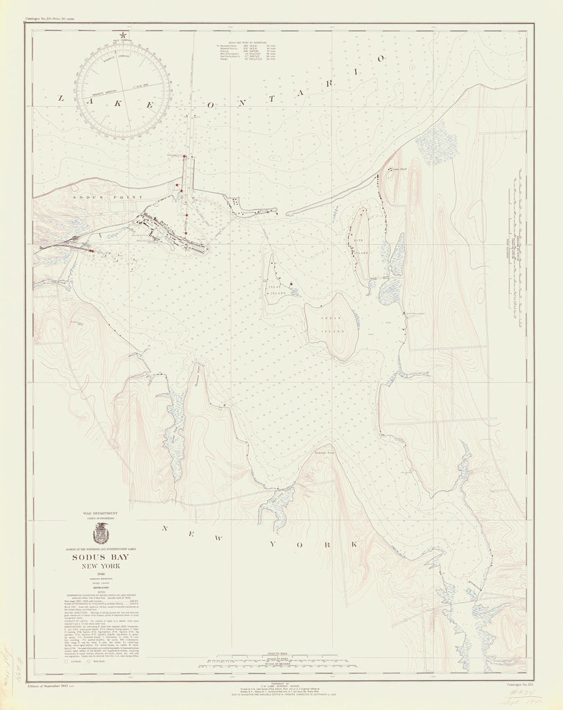 Lake Ontario - Great Sodus Bay Historical Map - 1940