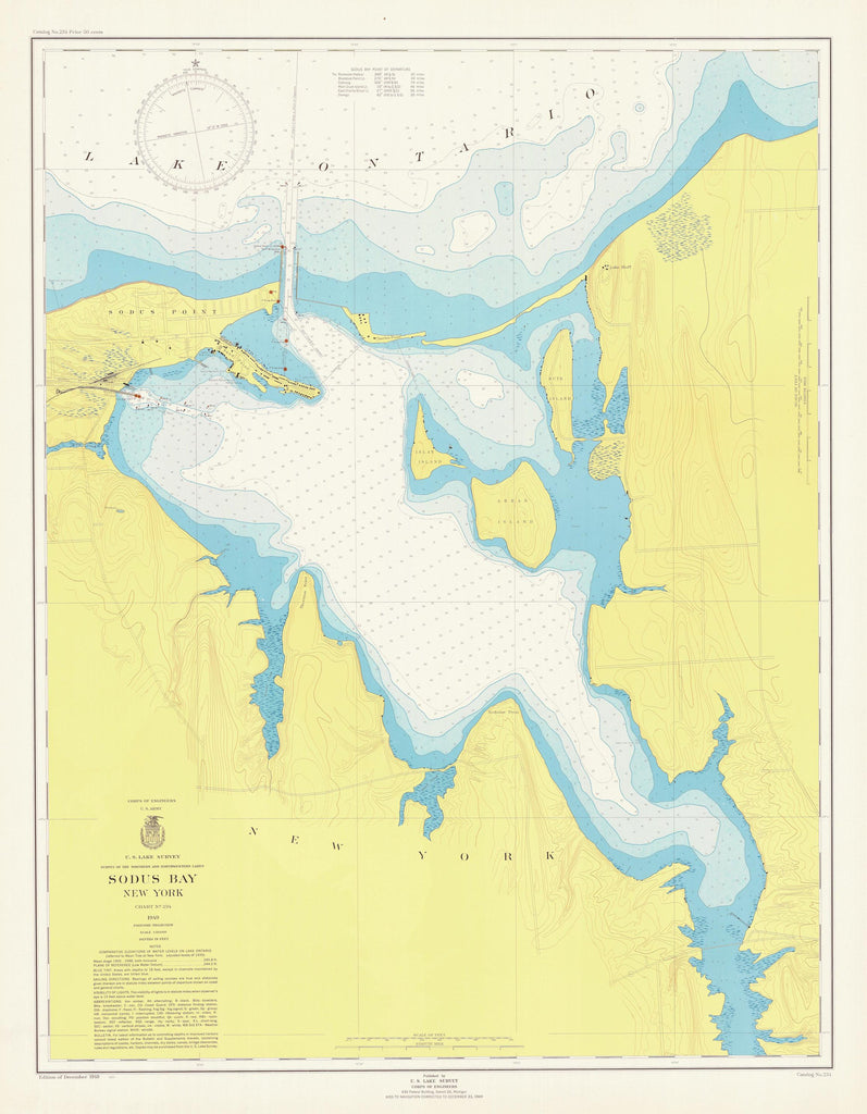Lake Ontario - Great Sodus Bay Historical Map - 1949