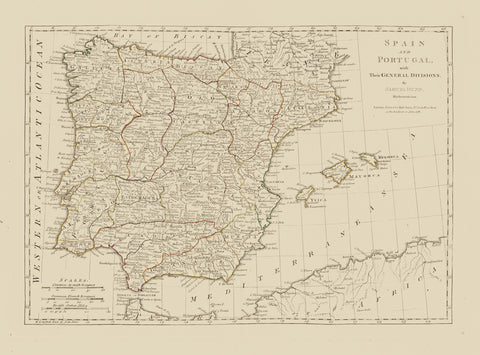 Spain & Portugal Map - 1796