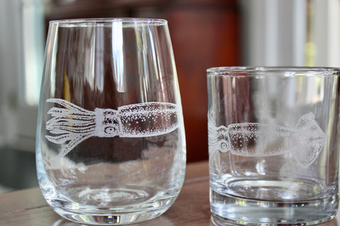 Squid - Engraved Rocks, Stemless Wine & Pint Glasses