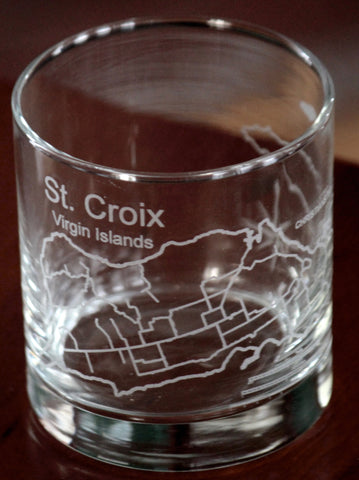 St. Croix (USVI) Map - Engraved Rocks, Stemless Wine & Pint Glasses
