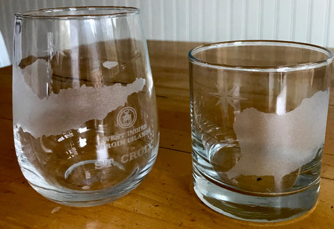 St. Croix Map - Engraved Rocks & Stemless Wine Glasses