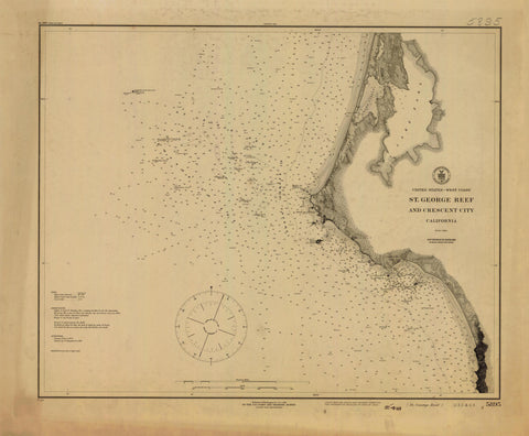 St George Reef and Crescent City Map - 1916