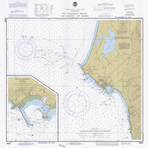 St George Reef and Crescent City Harbor Map - 1983