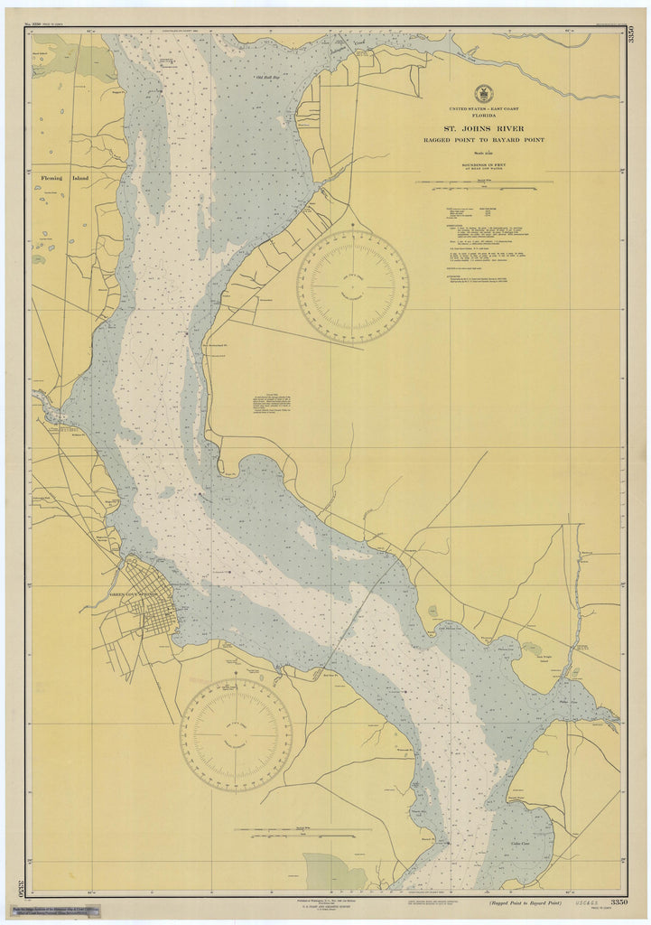 St. Johns River - Ragged Point to Bayard Point Map - 1945