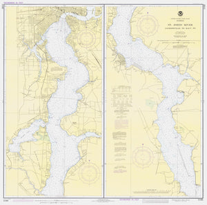 St. Johns River - Jacksonville to Racy Point Map - 1980
