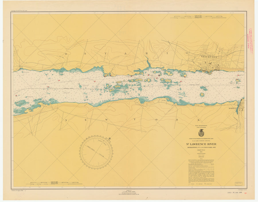St. Lawrence River - Morristown to Union Park Map - 1946