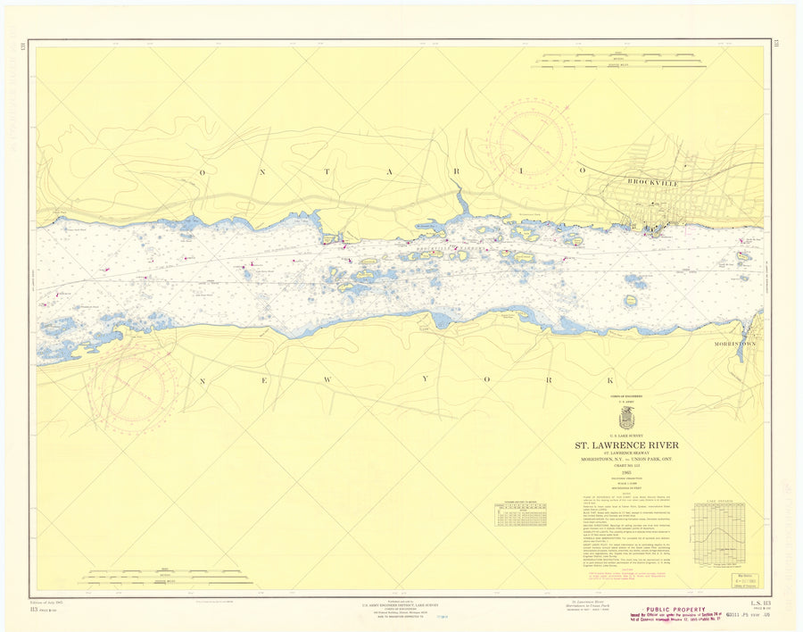 St. Lawrence River - Morristown to Union Park Map - 1965