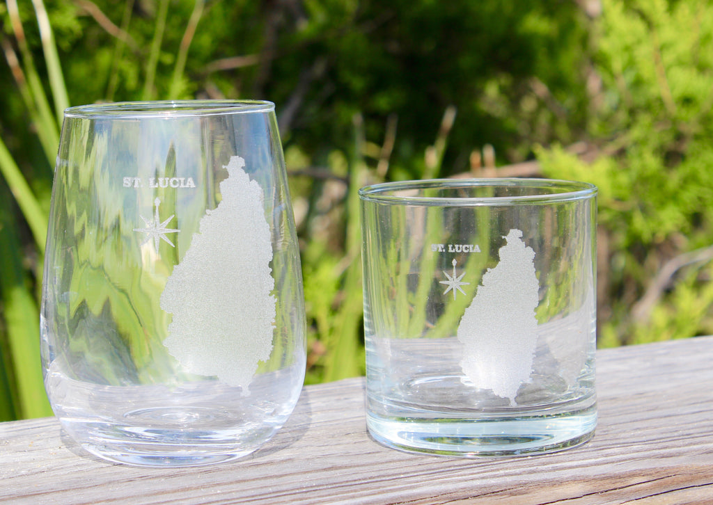 St. Lucia Map - Engraved Rocks, Stemless Wine & Pint Glasses