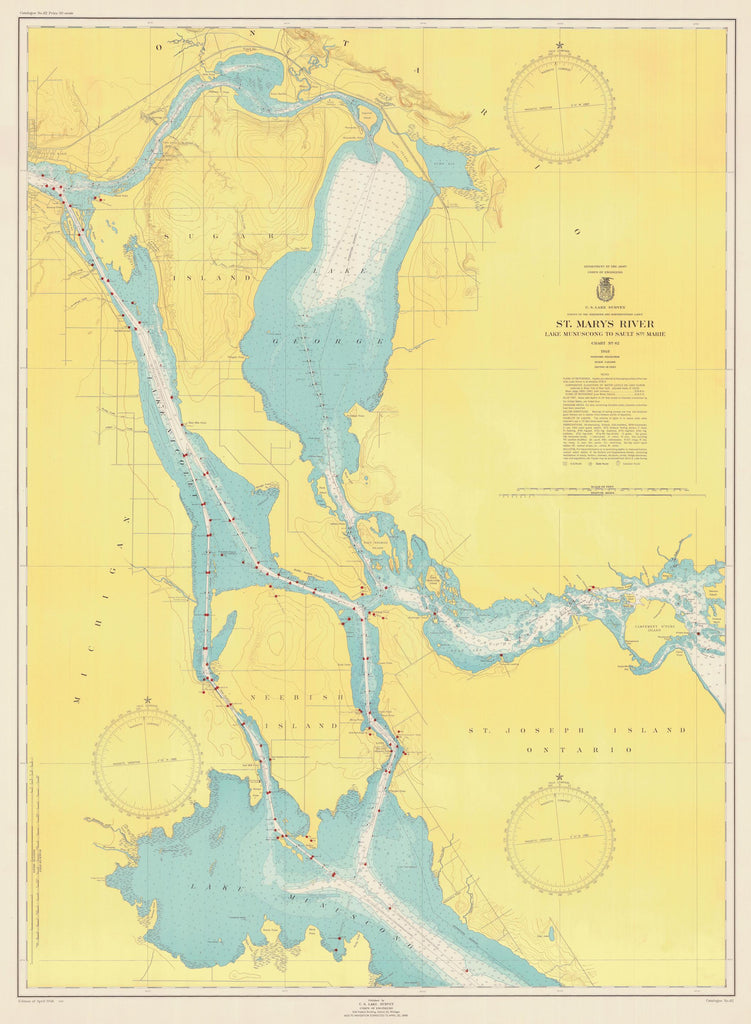 St. Mary's River - Lake Munuscong to Sault Ste. Marie Map - 1948