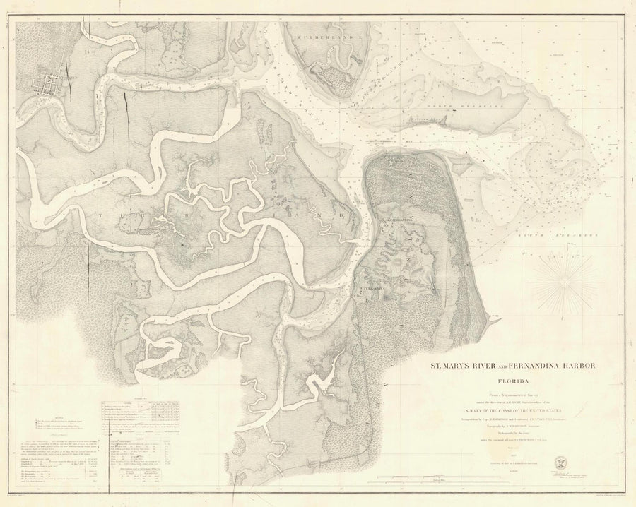 St. Mary's River and Fernandina Harbor Map - 1869