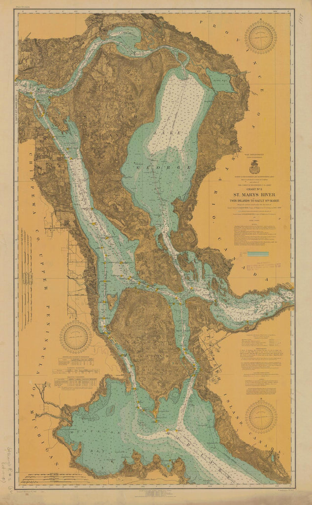 St. Mary's River - Twin Islands to Sault Ste. Marie Map - 1917