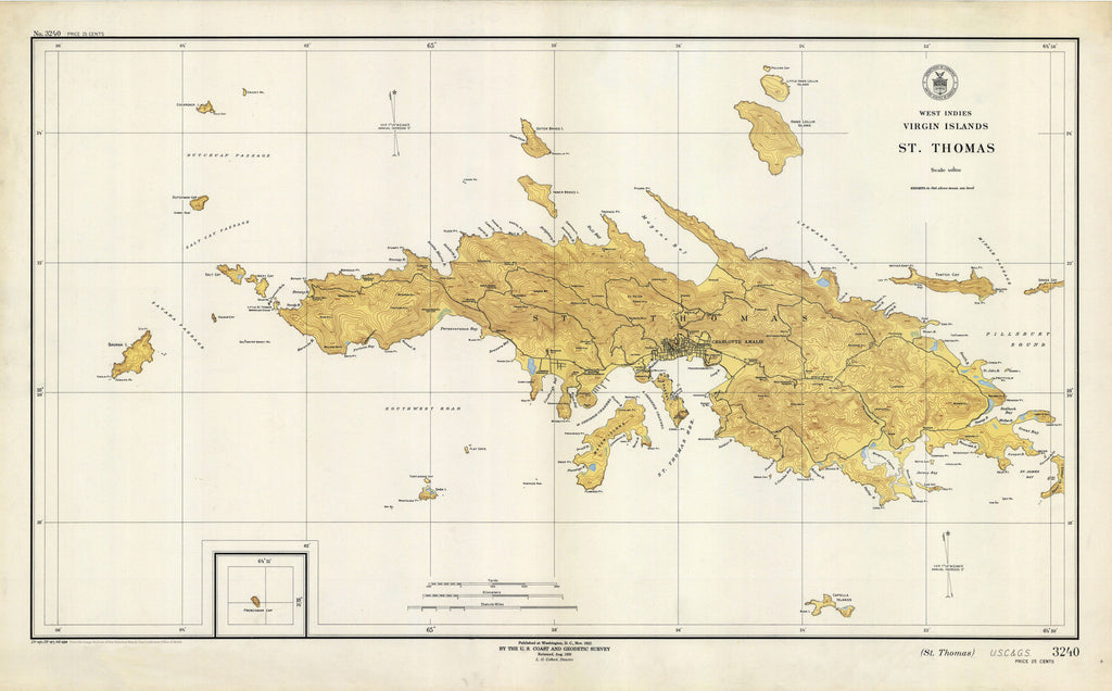 St. Thomas Map - USVI Historical Chart 1946