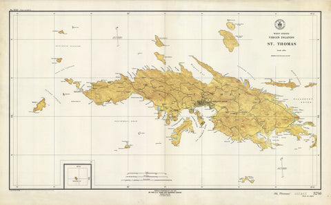 St. Thomas Map - USVI 1946