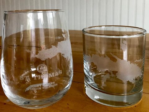 St. Thomas Map - Engraved Rocks & Stemless Wine Glasses