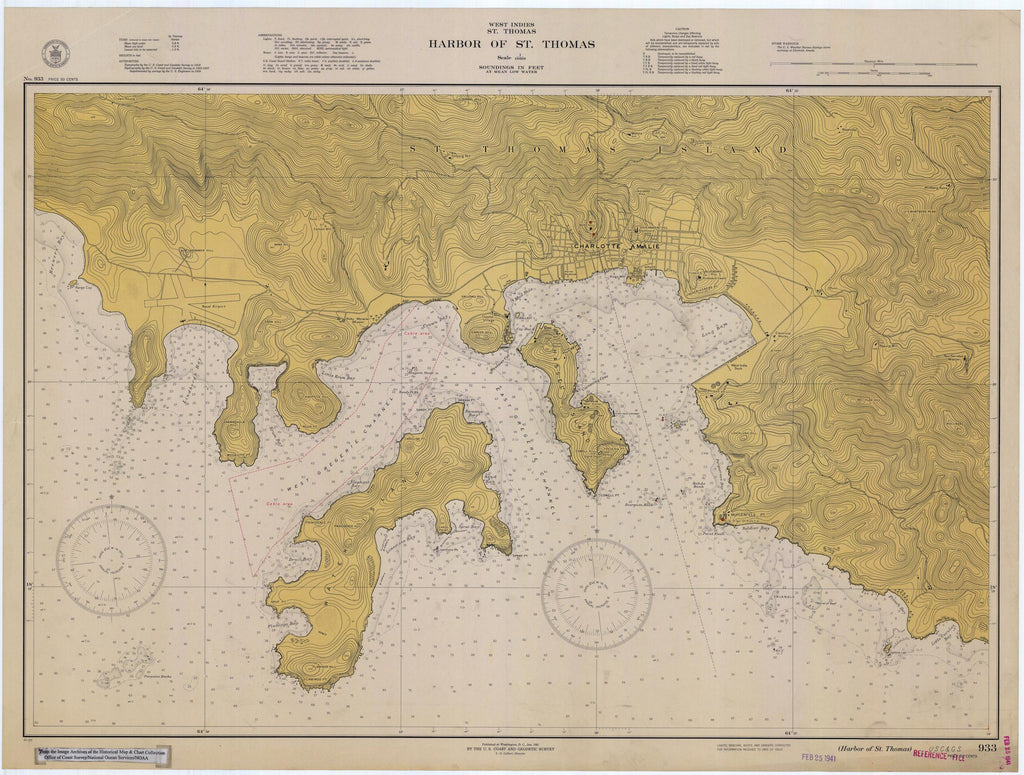 St. Thomas Harbor Map - USVI Historical Chart 1941