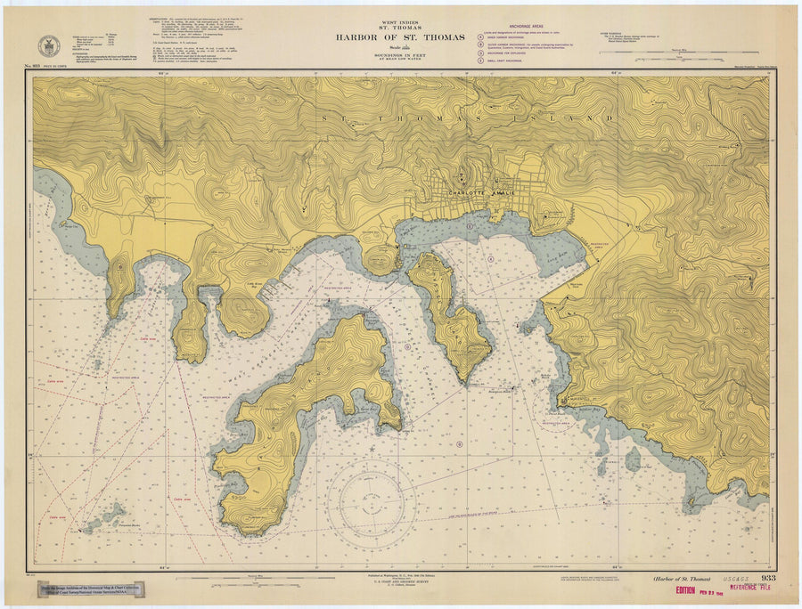 St. Thomas Harbor Map - USVI Historical Chart 1948