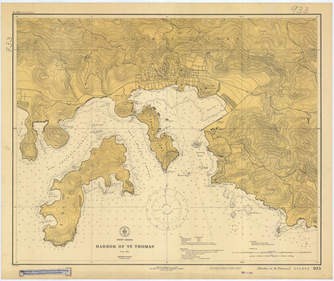 St. Thomas Harbor Map - USVI Historical Chart 1920