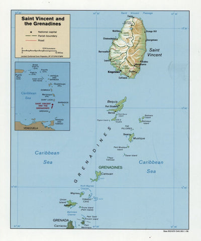 St. Vincent and Grenadines Map - 1996