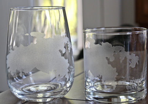 St. John Map - Engraved Rocks, Stemless Wine & Pint Glasses