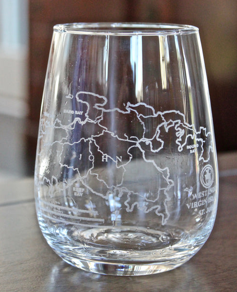 St. John Map Rocks, Stemless Wine & Pint Glasses