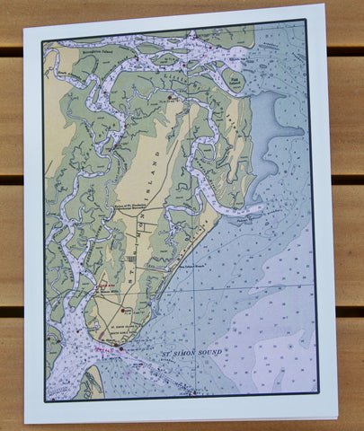 "St. Simons Island Map (1940) Notecards (1979) - 4.25""x5.5"""
