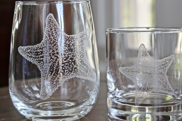 Starfish - Engraved Rocks, Stemless Wine & Pint Glasses