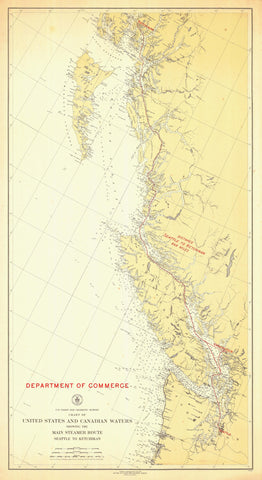 Steamer Route US-Canada Map - 1923