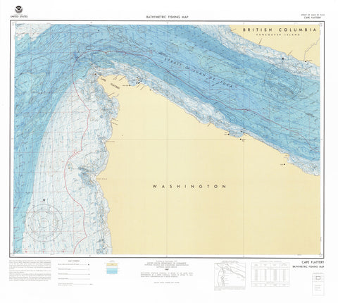 Strait of Juan de Fuca - Cape Flattery Bathymetric Fishing Map - F6 1