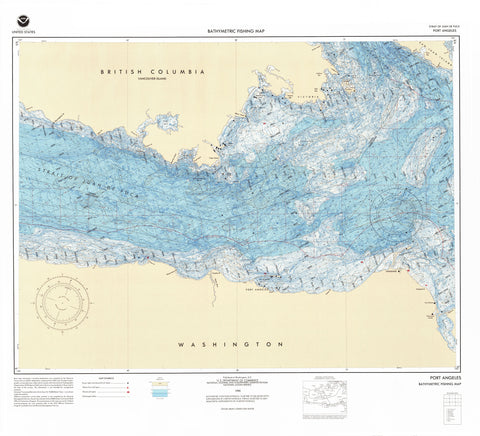 Strait of Juan de Fuca - Port Angeles Bathymetric Fishing Map - F60