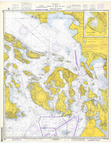 Strait of Juan de Fuca - San Juan Islands Map - 1972